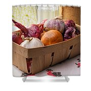 Onions And Garlic In A Crate Shower Curtain