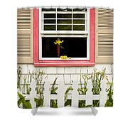 Open Window With Yellow Flower In Vase Shower Curtain