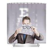 Optometrist Or Vision Doctor Holding Eye Glasses Shower Curtain