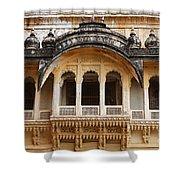 Ornate Balcony At Meherangarh Fort At Jodhpur In India Shower Curtain