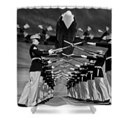 Over The Marine Corps Silent Drill Platoon Shower Curtain