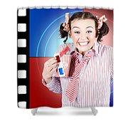 Overjoyed Nerd Woman At 3d Movie Premier Shower Curtain