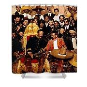 Pancho Villa In Presidential Chair And Emiliano Zapata Palacio Nacional Mexico City December 6 1914 Shower Curtain