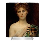 Pandora Shower Curtain by Alexandre Cabanel