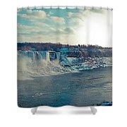 Panorama - Niagara Falls In Winter Shower Curtain