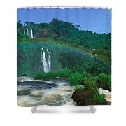 Panoramic View Of Iguazu Waterfalls Shower Curtain
