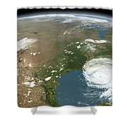 Panoramic View Of Planet Earth Shower Curtain