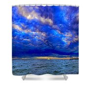 Paradise Is Blue Shower Curtain