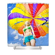 Parasailing On Summer Vacation Shower Curtain