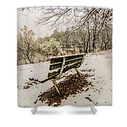Park Bench In The Snow Covered Park Overlooking Lake Shower Curtain