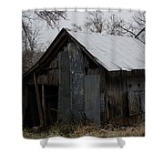 Patchwork Barn With Icicles Shower Curtain