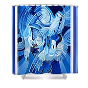 Peace On Earth Greetings With Doves  Shower Curtain