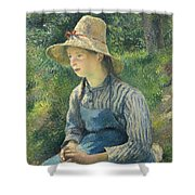 Peasant Girl With A Straw Hat Shower Curtain