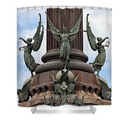 Pedestal Of Columbus Monument In Barcelona Shower Curtain