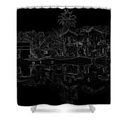 Pencil - View Of The Cottages And Lagoon Water Shower Curtain