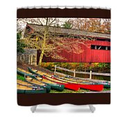 Pennsylvania Country Roads - Bowmansdale - Stoner Covered Bridge Over Yellow Breeches Creek - Autumn Shower Curtain