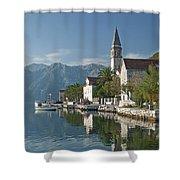 Perast Village On Kotor Bay Montenegro  Shower Curtain