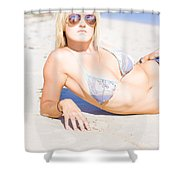 Person On Summer Holidays Shower Curtain