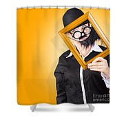 Person Setting Their Social Media Profile Picture Shower Curtain
