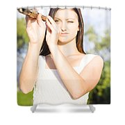 Person With Monocular Shower Curtain