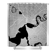 Perth Street Map - Perth Australia Road Map Art On Colored Backg Shower Curtain