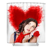 Photo Of Romantic Woman Holding Heart Shape Candy Shower Curtain