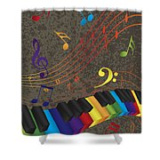 Piano Wavy Border With 3d Colorful Keys And Music Note Shower Curtain