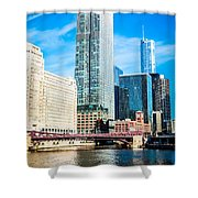 Picture Of Chicago River Skyline At Franklin Bridge Shower Curtain by Paul Velgos