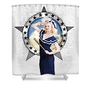 Pin-up Sailor Girl On Boat. Holiday Abroad Shower Curtain