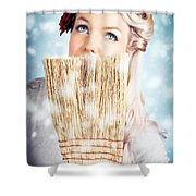 Pin-up Woman Cleaning Up In Cold Blue Winter Snow Shower Curtain