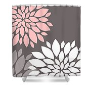 Pink Grey White Peony Flowers Shower Curtain