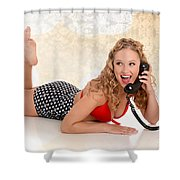 Pinup Girl On The Phone Shower Curtain