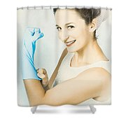 Pinup Housewife Flexing Muscles. Cleaning Strength Shower Curtain