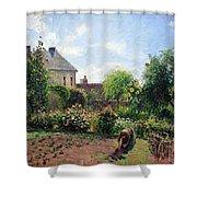 Pissarro's The Artist's Garden At Eragny Shower Curtain by Cora Wandel