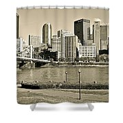 Pittsburgh In Sepia Shower Curtain
