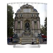 Place Saint-michel Statue And Fountain In Paris France Shower Curtain