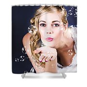 Playful Bride Blowing Bubbles At Wedding Reception Shower Curtain