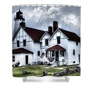 Point Iroquois Lighthouse Michigan Shower Curtain