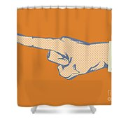 Pointing Finger Vector Shower Curtain