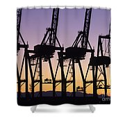 Port Of Seattle Cranes Silhouetted Shower Curtain