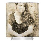 Portrait Of A Vintage Lady Shower Curtain