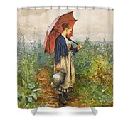 Portrait Of A Woman With Umbrella Gathering Water Shower Curtain