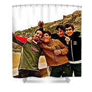 Portuguese Teens Wish A Happy New Year In Nazarre-portugal  Shower Curtain