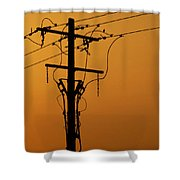 Power Line Sunset Shower Curtain