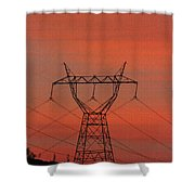 Power Lines Just After Sunset Shower Curtain