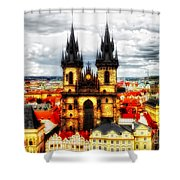 Prague Church Of Our Lady Before Tyn Shower Curtain