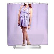 Pretty Brunette Pin Up Woman In Purple Dress Shower Curtain