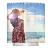 Pretty Young Woman Looking Out To Sea Shower Curtain