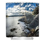Price Lake Frozen Over During Winter Months In North Carolina Shower Curtain