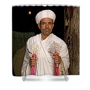 Priest At Ancient Rock Hewn Churches Of Lalibela Ethiopia Shower Curtain
